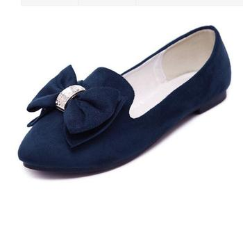 Hot Sale Spring Autumn Suede Office Women Flat Shoes Big Size 34-43 Fashion Sweet Pointed Toe Bow Ties Ladies Casual Shoes 49