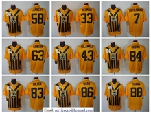 100% Stitiched,Antonio Brown Heath Miller Le'Veon Bell Ben Roethlisberger Throwback for men(China (Mainland))