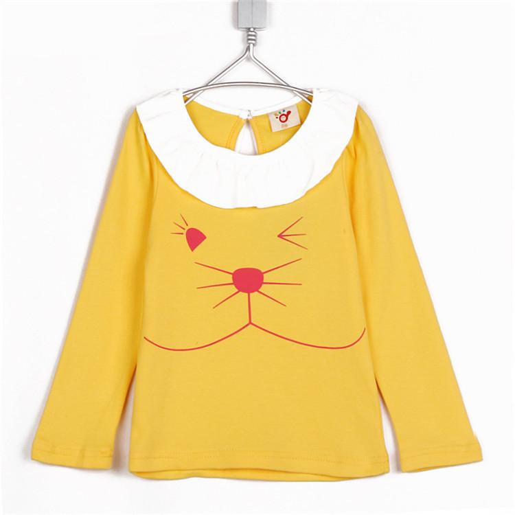 2015 autumn cat lace collar girls clothing baby child long-sleeve T-shirt basic shirt A1890(China (Mainland))