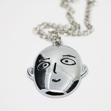 One-Punch Man Caped Baldy Saitama Face Necklace Pendant Unisex Chain Collectables Gift for fans Anime(China (Mainland))