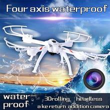 Fun 2.4GHz 4CH 6Axis Gyro Waterproof Headless Mode RC Helicopter Quadcopter Drone With Camera RTF Toy Gift Free Shipping