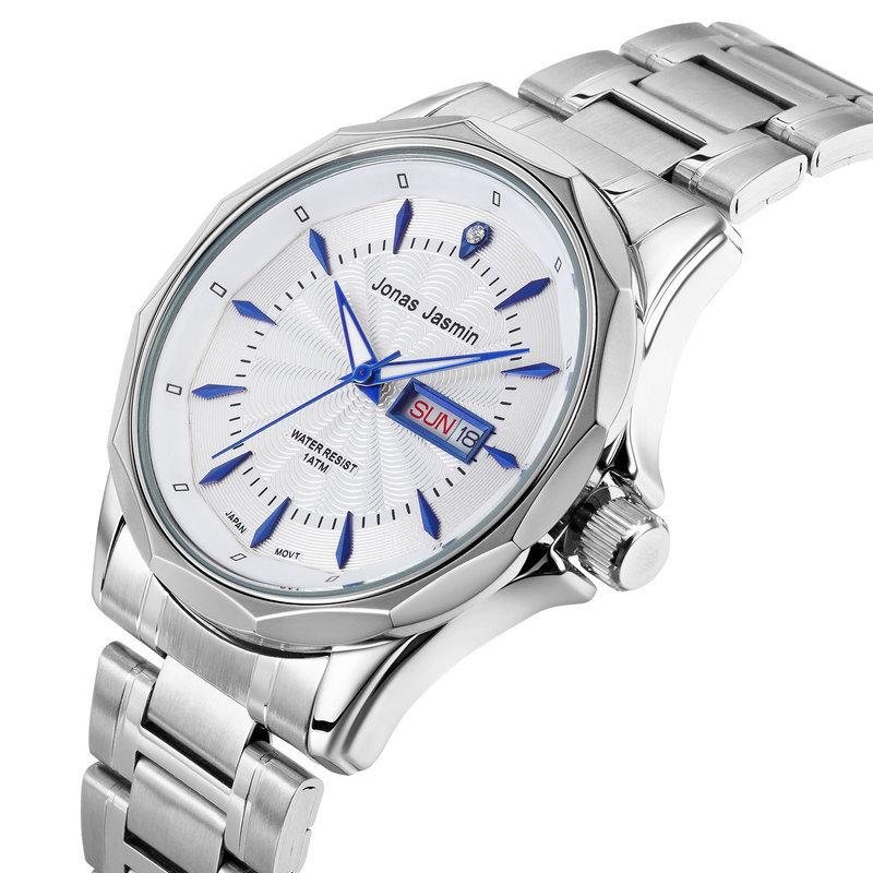 Часы мужчины роскошь дата день аналоговый нержавеющая сталь свободного покроя часы кварцевый мужские до запястья часы часы relogio masculino
