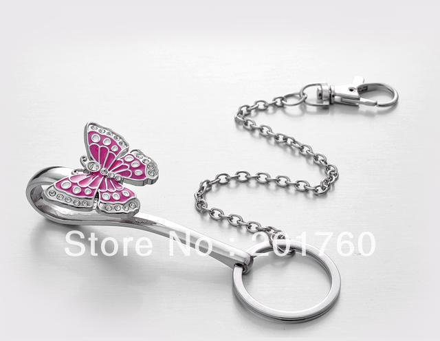 Fashion romantic new style stainless steel creative pink butterfly key finder free shipping MN-X100(China (Mainland))
