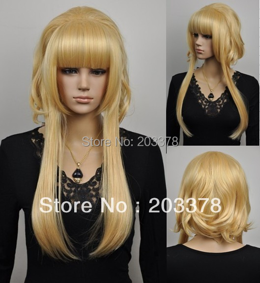 Blonde cosplay hair wig best selling hair wigs high quality free shipping