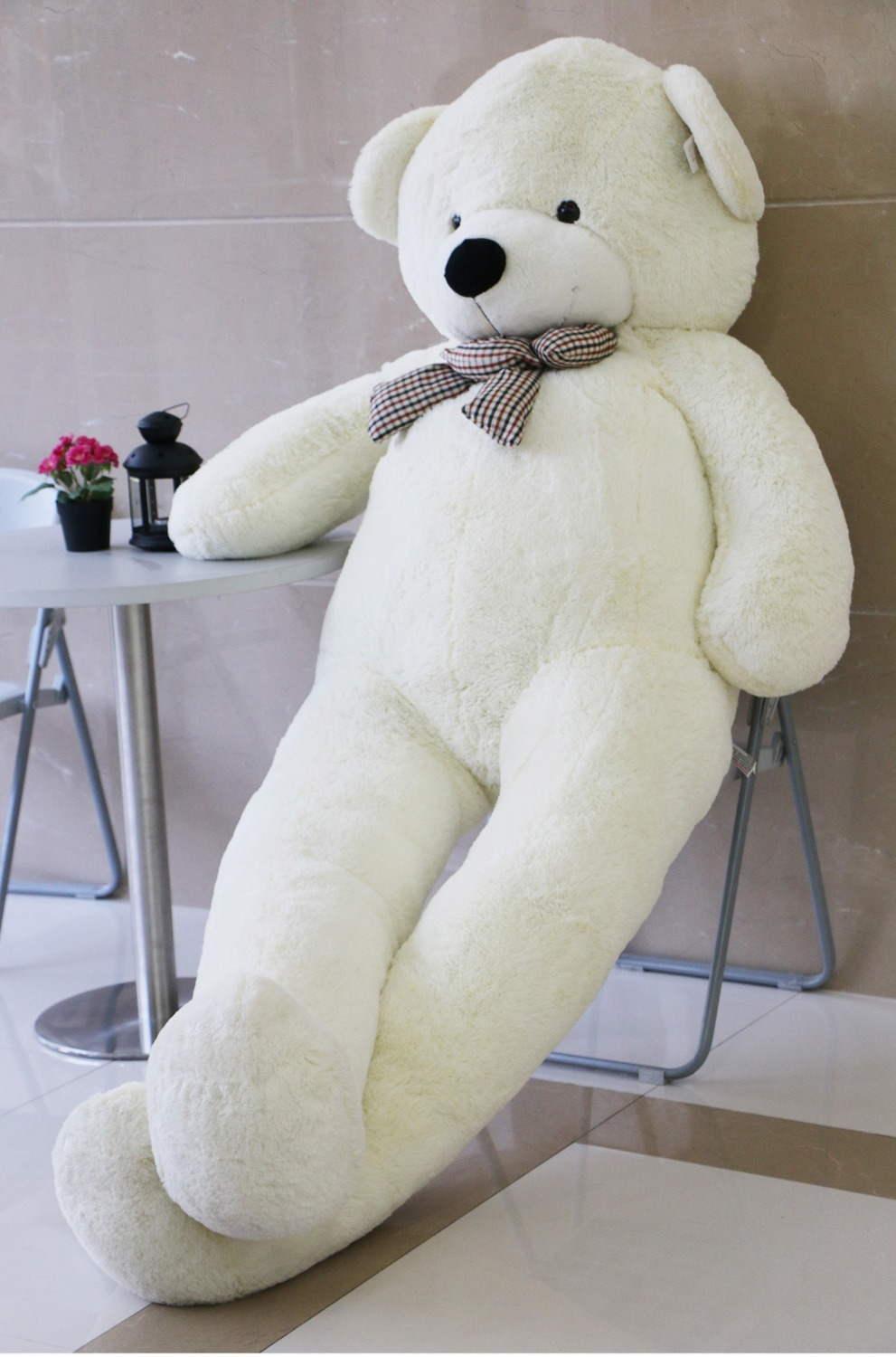"Joyfay 91"" 230cm White Giant Teddy Bear 2.3m Huge Stuffed Plush Teddy Bear Big Soft Toy Gift for Birthday Valentine Anniversary(China (Mainland))"