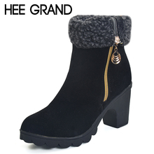 HEE GRAND Winter Women Boots Flock Inside Ankle Boots Casual Platform Shoes Woman Sexy High Heels Warm Pumps 2 Wearing XWX4411(China (Mainland))