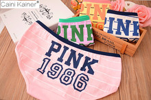 Buy 2017 Hot Sell Girl Sexy 100% Cotton Stripe Panties Women Underwear Vs Pink Tanga Bragas Briefs Cute Letter Women Calcinha for $12.23 in AliExpress store