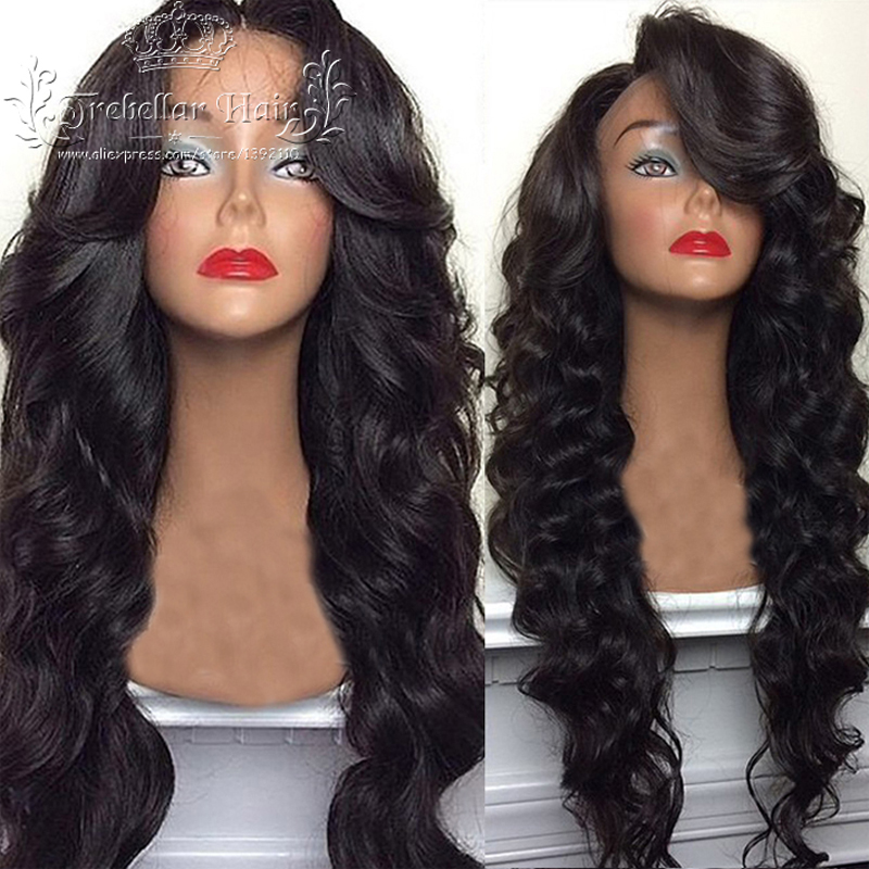 Brazilian Deep Body Wave Full Lace Human Hair Wig Best Lace Front Wig Virgin Hair Full Lace Wig Human Hair U Part Wig With Bangs(China (Mainland))