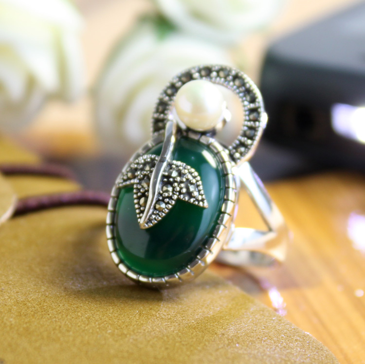 925 pure silver exquisite handmade thai silver ring 925 silver green agate finger ring female pearl large-grained personality(China (Mainland))