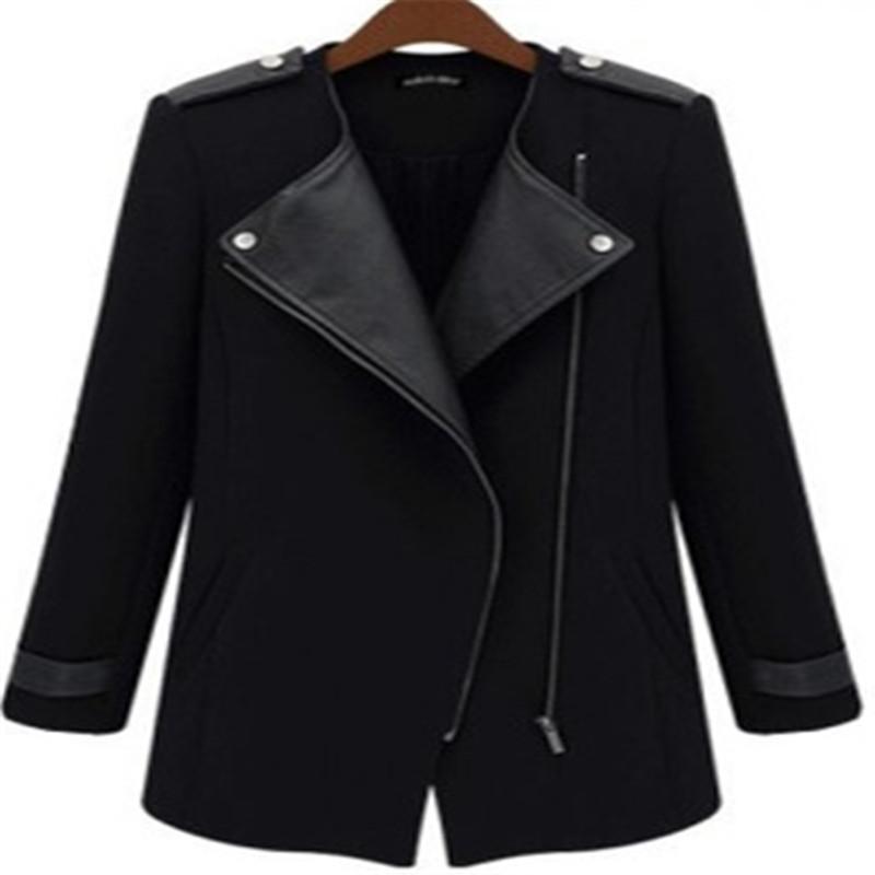 2015 winter coat women Casual jacket Contrast PU Leather Trims Oblique Zipper Wool & Blends Coat casacos jacket for women LJ2850(China (Mainland))
