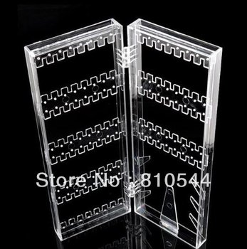 Free Shipping 2013 New Clear Hinged Earring Screen Cosmetic Storage Jewelry Hold Organizer Premium Quality Display