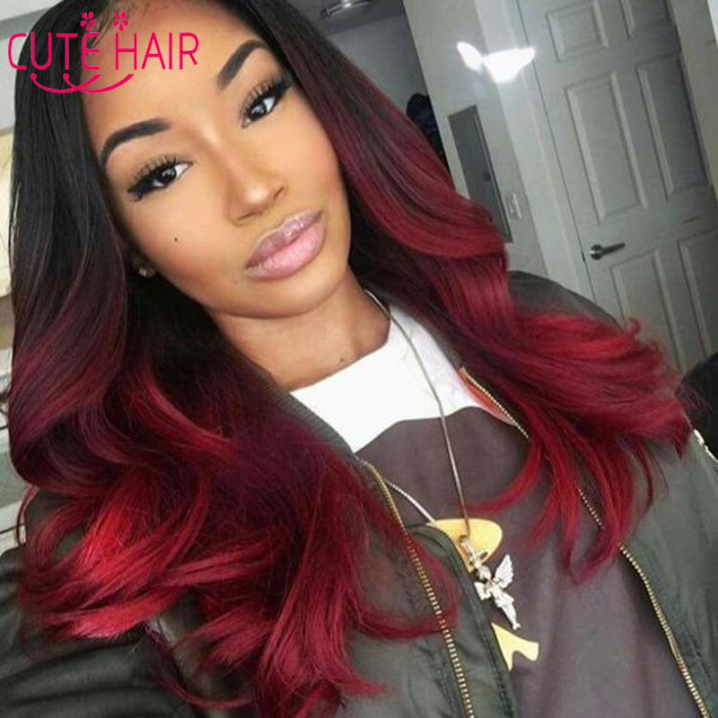 ombre brazilian hair 3 bundles red and black hair weave
