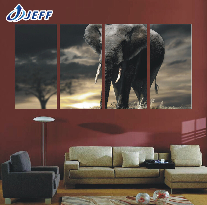 Elephant 4 Panel Painting Canvas Wall Art Picture Home Decoration Living Room Canvas Print Modern Painting-Large Canvas Unframed(China (Mainland))