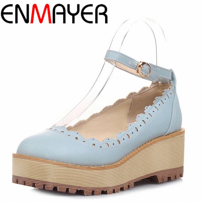 ENMAYER Round Toe Buckle Strap comfort Platform flats Solid Cut-Outs sweet Retro women flats big size:34-43 6 colors shoes flats<br><br>Aliexpress
