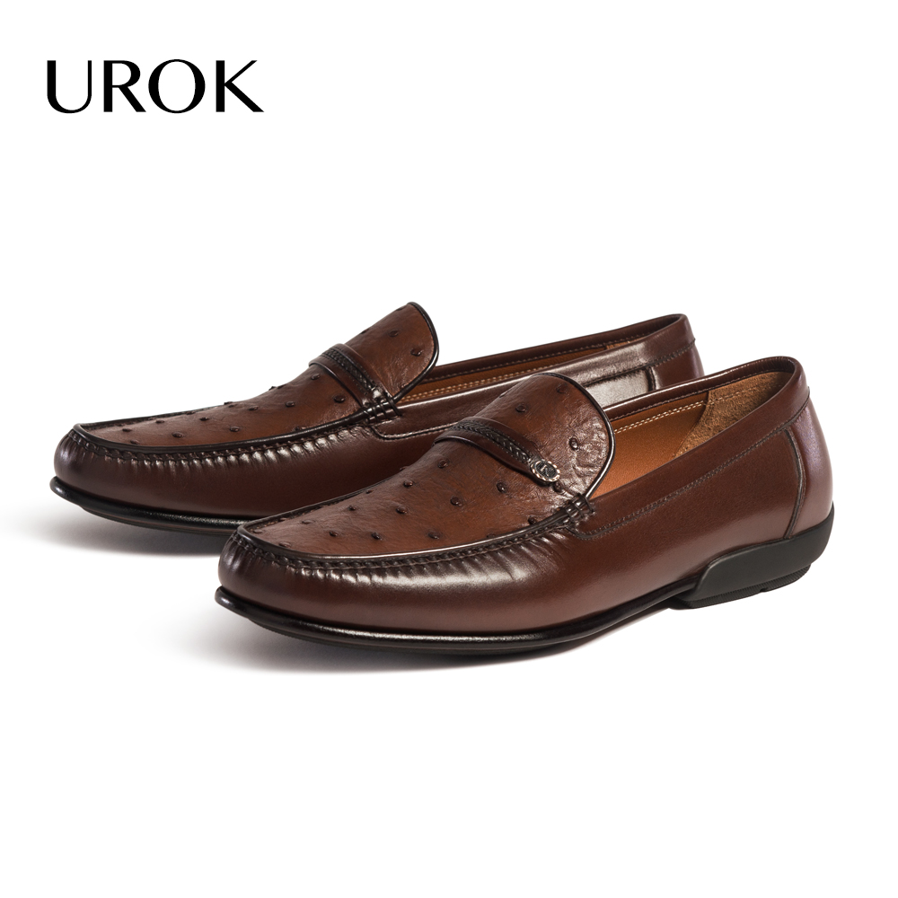 UROK Custom Made Men Ostrich Skin Loafers Solid Genuine Leather Plain Round Toe Flats Comfortable Slip On Evening Party Men Shoe(China (Mainland))