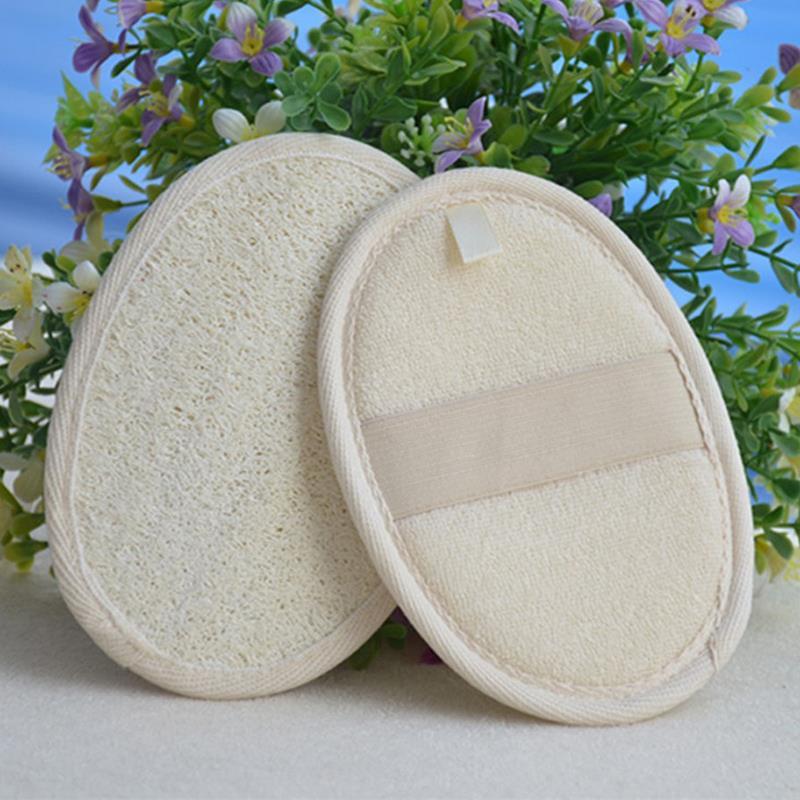 2pcs Soft Fresh Natural Loofah Luffa Sponge Shower Spa Body Scrubber Exfoliator Bathing Massage Brush Pad Beige M02086
