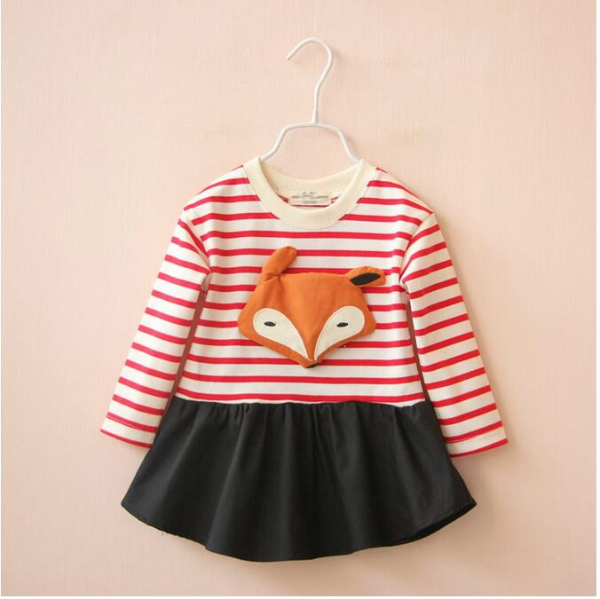 1551834 Wholesale 2016 New Fashion Baby Grils Blouses Patchwork Fox Striped Toddler Girls Tops Children Clothes Supplier Lot<br><br>Aliexpress