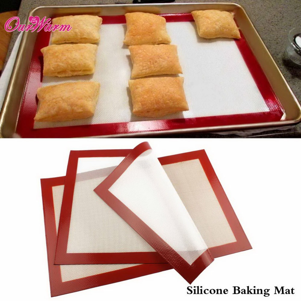 5 Pcs/Lot Non-Stick Silicone Pastry Bakeware Baking Mat Tray Oven Dough Rolling Liner Sheet White/Khaki Color Optional(China (Mainland))