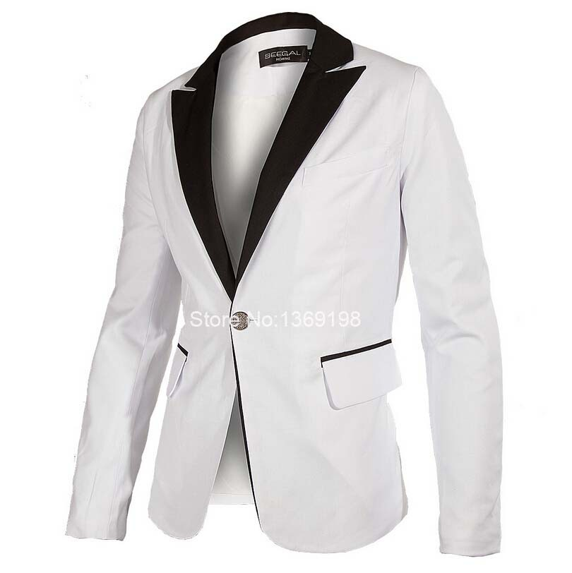 New Fashion Mens Slim Fit Stylish Casual One Button Suit Coat Jacket Blazers Top Designed Long Sleeve Smart Dress Blazer Suit H9(China (Mainland))