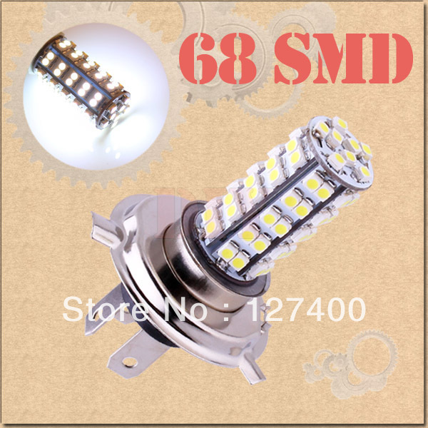 2pcs H4 68 SMD Pure White Fog Signal Tail Driving 68 LED Car Light Lamp Bulb parking