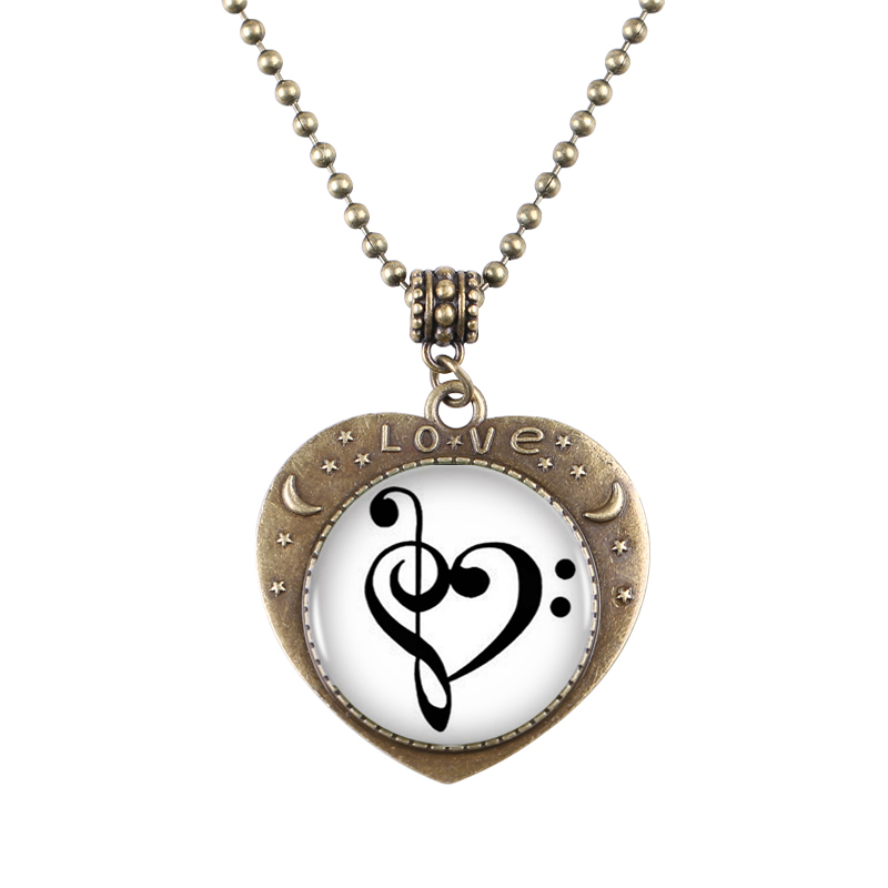 10pcs Treble And Bass Clef Heartshaped Bronze Plated Pendant Necklace Musician Charm Necklace Women Best Friend(China (Mainland))