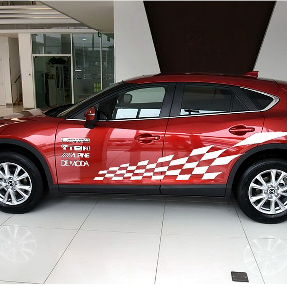 Car body sticker design malaysia - Cool Wrc Racing Line Auto Body Sticker Decorative Pvc Side Door Engine Hood Decal For