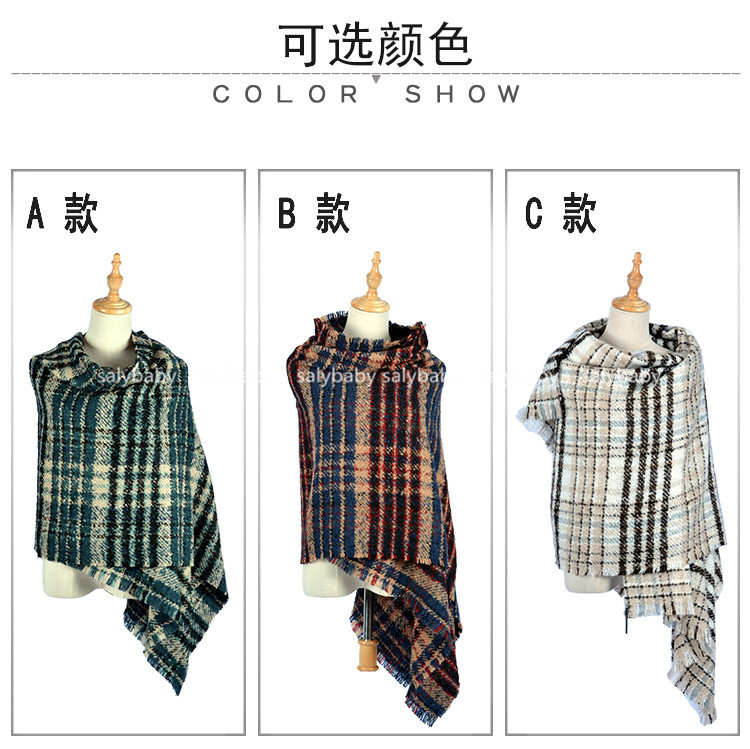 Europe And The Big Autumn Winter Cashmere Scarf Color Stripe Hit Korean Female Long All-match Dual-purpose