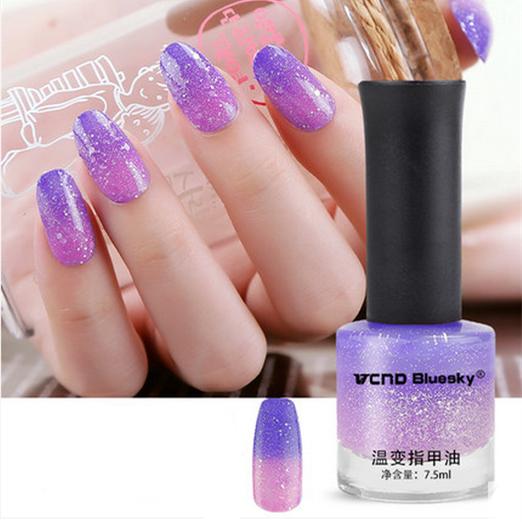 1 флакон 7.5 мл фиолетовый блеск тепловой лак для ногтей изменение цвета лака для ...