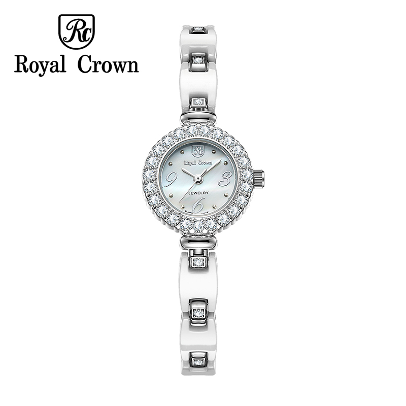 Royal Crown 3804 Italy Brand MIYOTA Switzerland Diamond Bracelet fashion white quartz ceramic watch female relogio feminino