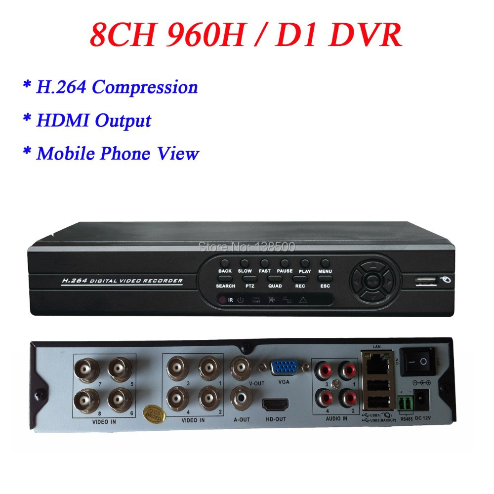 Wholesale Audio Input HDMI Output CCTV Standalone 8ch DVR 960H with USB Mouse(China (Mainland))