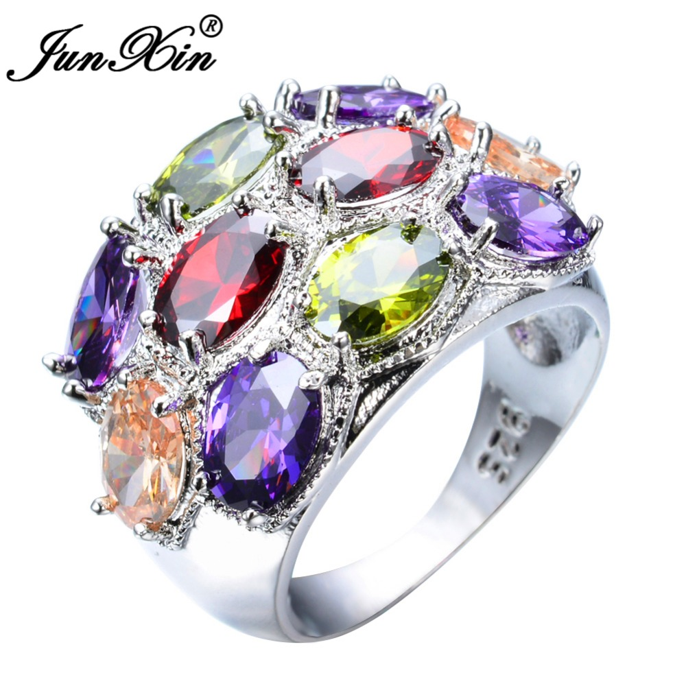junxin bohemian female girl rainbow ring 925 sterling silver filled jewelry luxury wedding engagement rings for