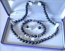 Pearl Jewelry Set AA 7-8MM Black Color Genuine Freshwater Pearl Necklace Bracelet Earring Wholesale New Free Shipping(China (Mainland))