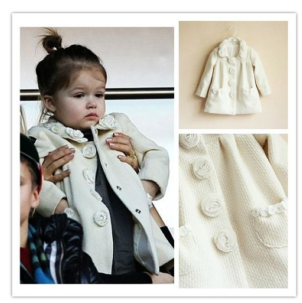 Children Winter Outwear Girls Jackets & Coats 3D Floral Decoration Solid Color 2014 Brand New Kids Jackets Girl Outerwear Coats(China (Mainland))
