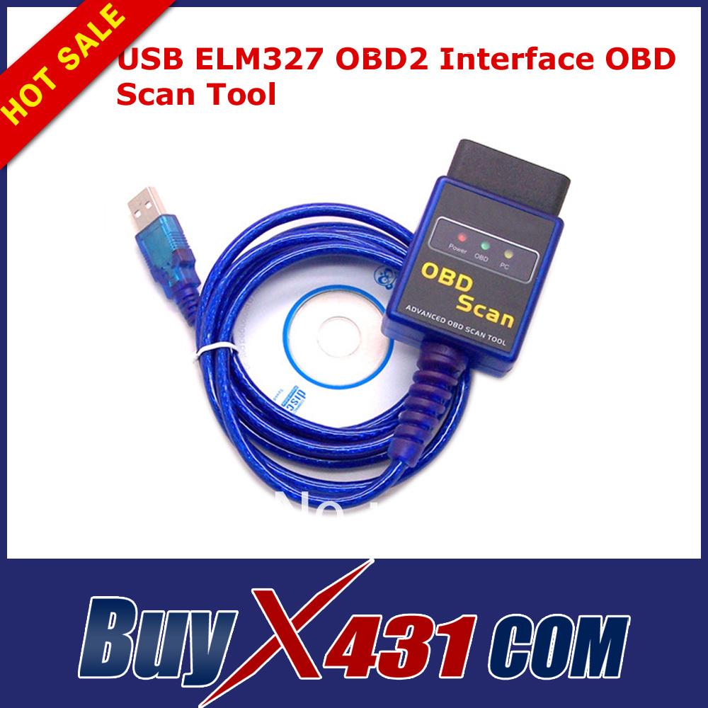 2013 Top Quality USB ELM327 OBD2 Interface OBD Scan Tool ELM 327 OBDII Diagnostic Scanner Tool(China (Mainland))