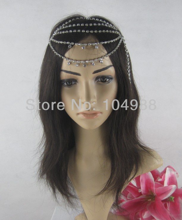 FREE SHIPPING 2014 Style HE16 NEW BRIDE FASHION SIX LAYERS SILVER RHINESTONES CIRCLET HEAD CHAIN NECKLACE JEWELRY(China (Mainland))
