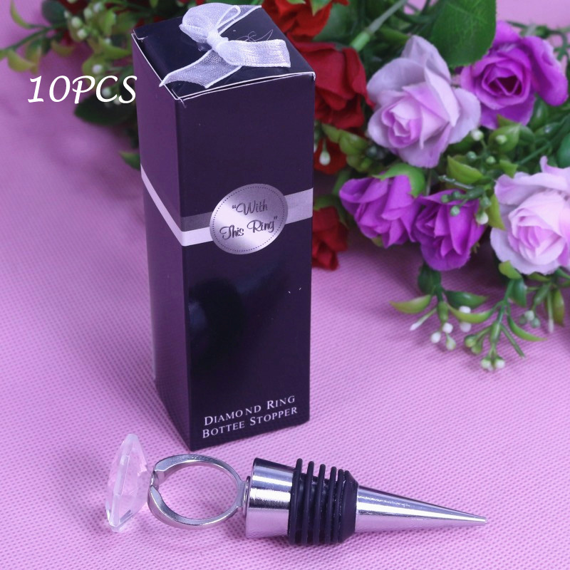 Personalised Crystal Diamond Ring Wine Stopper Wedding Decoration Favors gift Souvenirs For Kids Party Bridal Shower Souvenirs(China (Mainland))