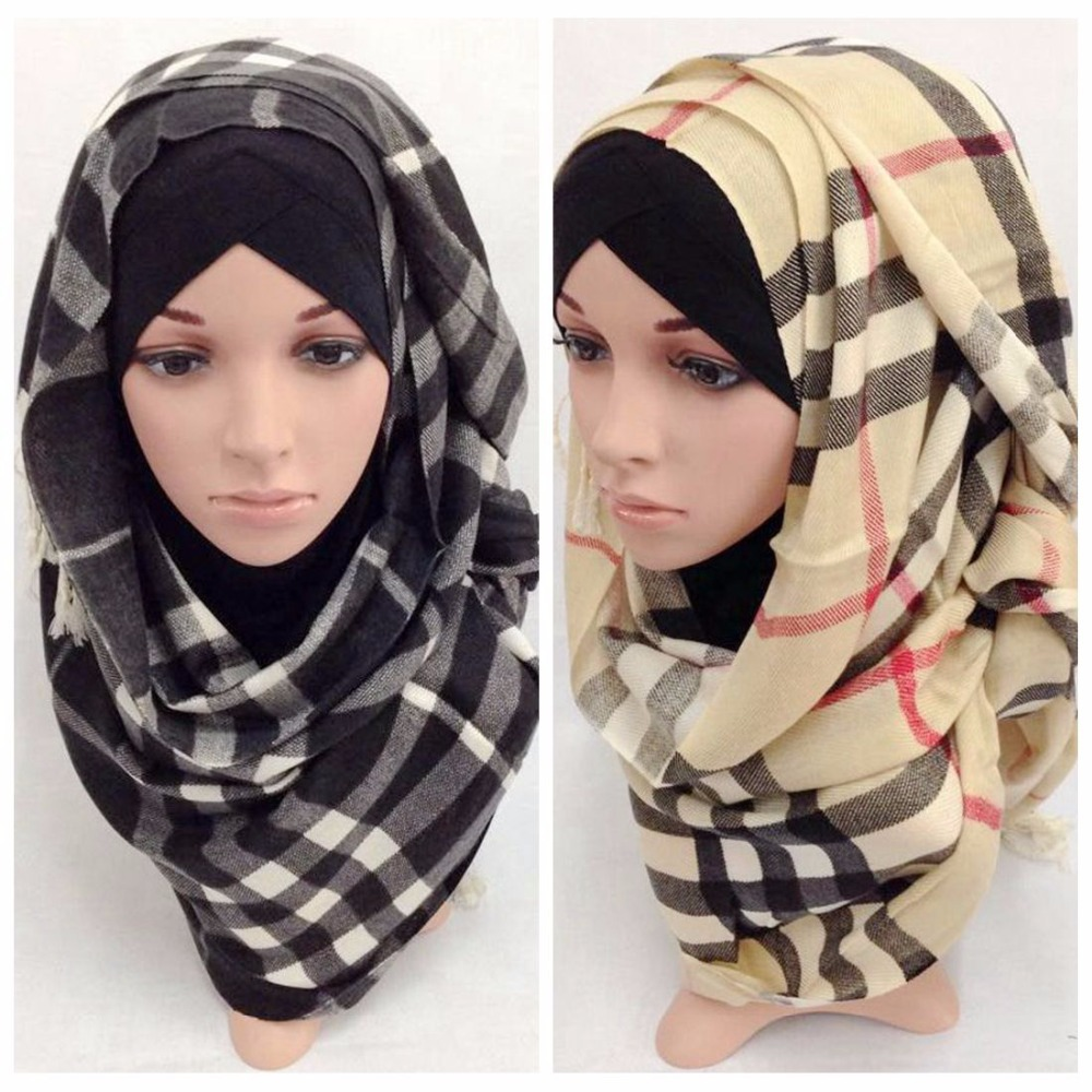 New Cotton Plaid Muslim Scarves Islamic Hijabs (180*70 cm)Beautiful Cotton Muslim Headscarf pashmina 2015 Fashion(China (Mainland))