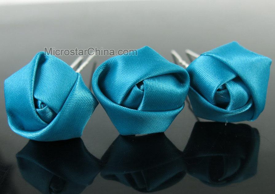 Free Shipping 10pcs Rose Hair Pins Mini Blue shape elegant Rose Hair Pins Wedding Fabric Bridal Ribbon(China (Mainland))