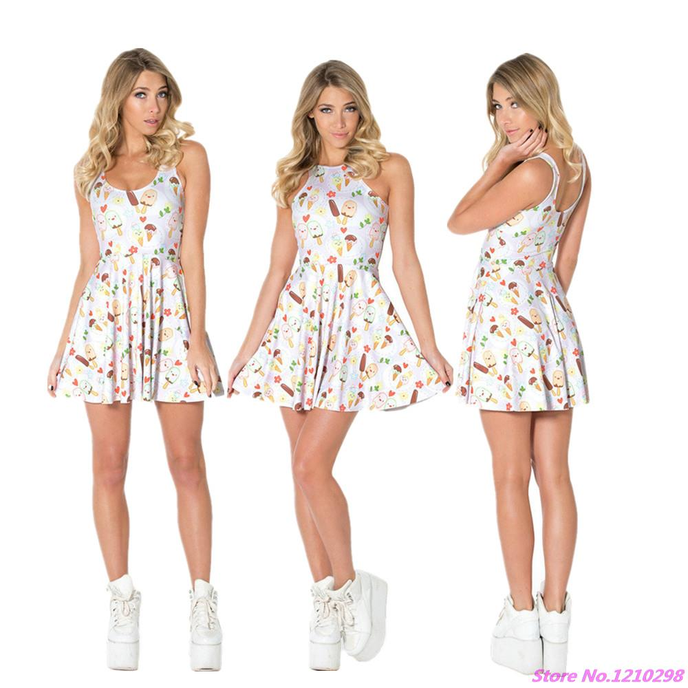 3D Printed Chocolate Summer Dress Lovely High Elastic Cute Ice Cream Dress Girls Casual one-Piece Pleated Tennis Dress Vintage(China (Mainland))
