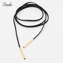 Long Black Chocker Necklace Clothing Accessories Vintage Gold Plated Tube False Collar Chokers Leather Jewelry For Women DN424/5(China (Mainland))