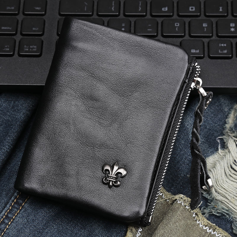 2015 New Men wallets Coin zipper Pocket fashion short Design men's wallet Leather Wallet hand-made women's wallet(China (Mainland))