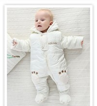 Brand Baby Winter Clothes Thickening Warm Rompers Cartoon Baby Girls Coverall Hooded Down Snowsuit  Clothing For 0-18M(China (Mainland))