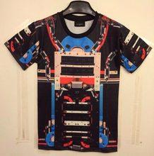 2014 New Fashion men's 3D t-shirt Geometry funny printed cute Machine Robots top tees Tshirt DT11