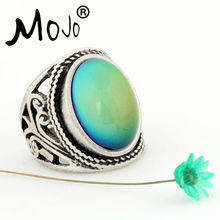 Mojo Vintage Bohemia Retro Color Change Mood Ring Emotion Feeling Changeable Ring Temperature Control Ring for Women MJ-RS019(China (Mainland))