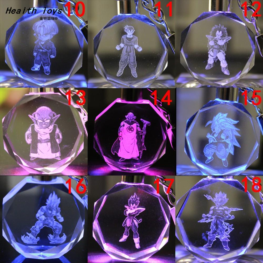 Dragon Ball keychain Son Goku/Vegeta/Gohan/Trunks/Cell anime toys crystal keyring Colorfull flashing action toy figure(China (Mainland))
