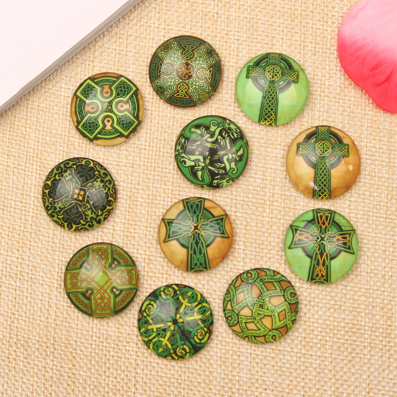 Mixed Green Cross Photo Glass Cabochon 10mm 12mm 14mm 18mm 20mm 25mm round dome flatback cameo for earring necklace(China (Mainland))