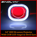Car Styling Automobiles Full Metal H4 Q5 HID Bi xenon Projector Lens Headlight Square COB LED
