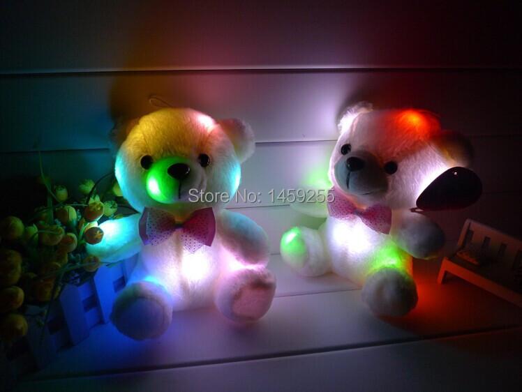 Free shipping new teddy bear doll bear hug Colorful LED flash light,led plush toy for children's gift christmas gift(China (Mainland))