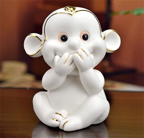 Russian new year gift porcelain figurines collectibles ceramic figurines monkey shaped vivid monkey statue with golden line(China (Mainland))