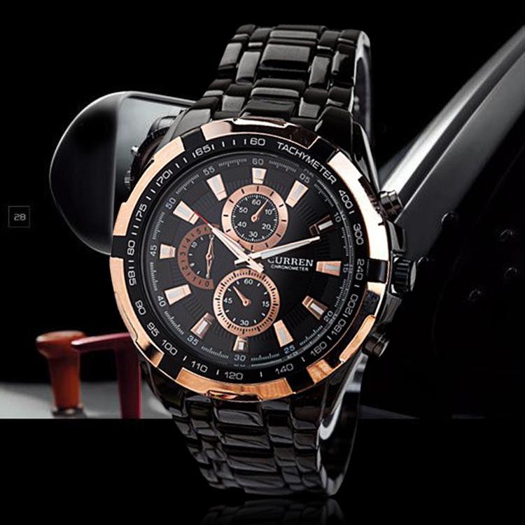 Relogio Masculino Fashion Black Gold Curren Watches Men Luxury Brand Men Full Steel Military Quartz Watch